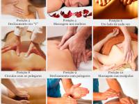 Fotos com o passo a passo sobre como fazer massagem nas costas
