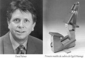 David Palmer - Criador da Quick Massage e foto de uma cadeira de Quick Massage